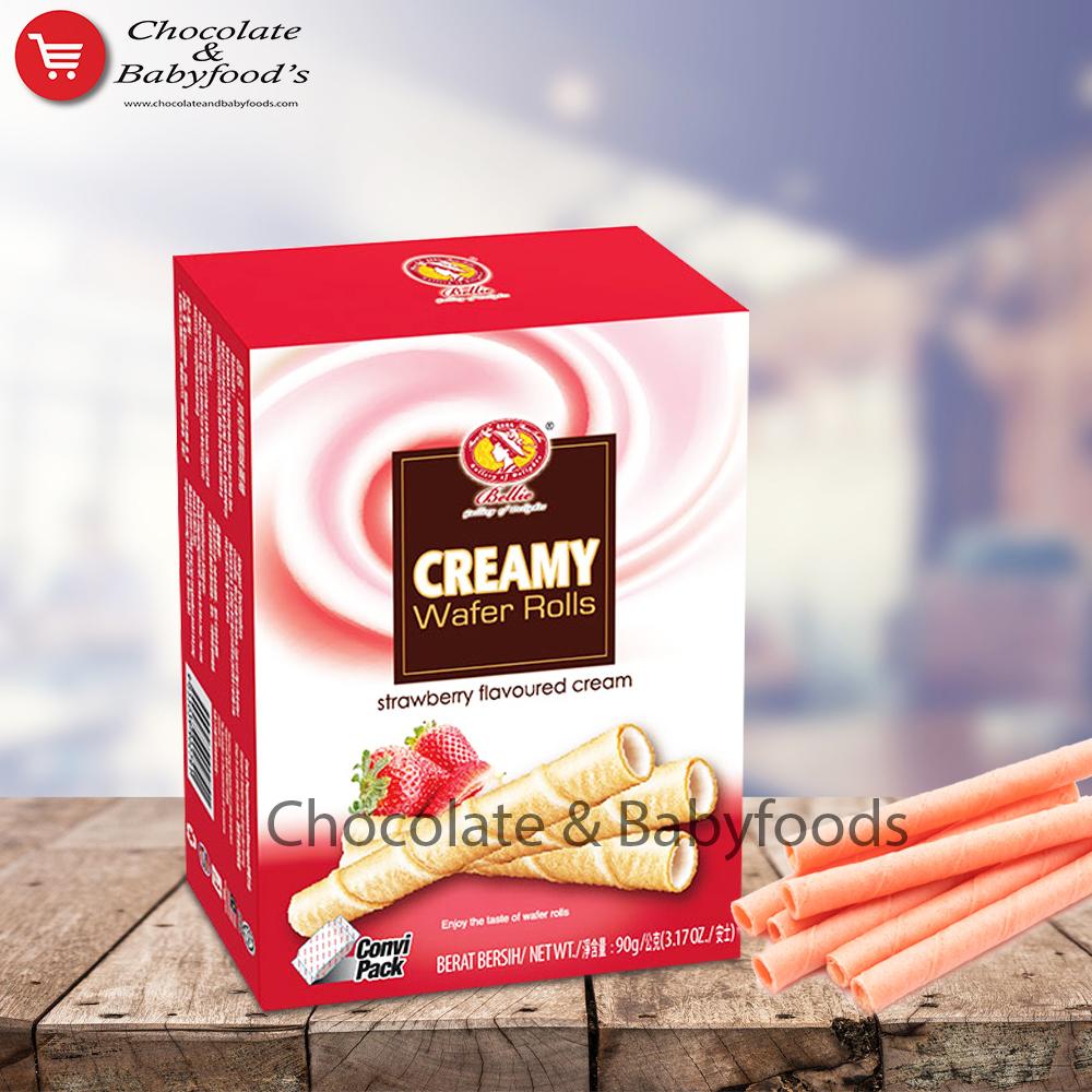 Bellie Creamy Wafer Rools Strawberry Flavoured Cream 90g