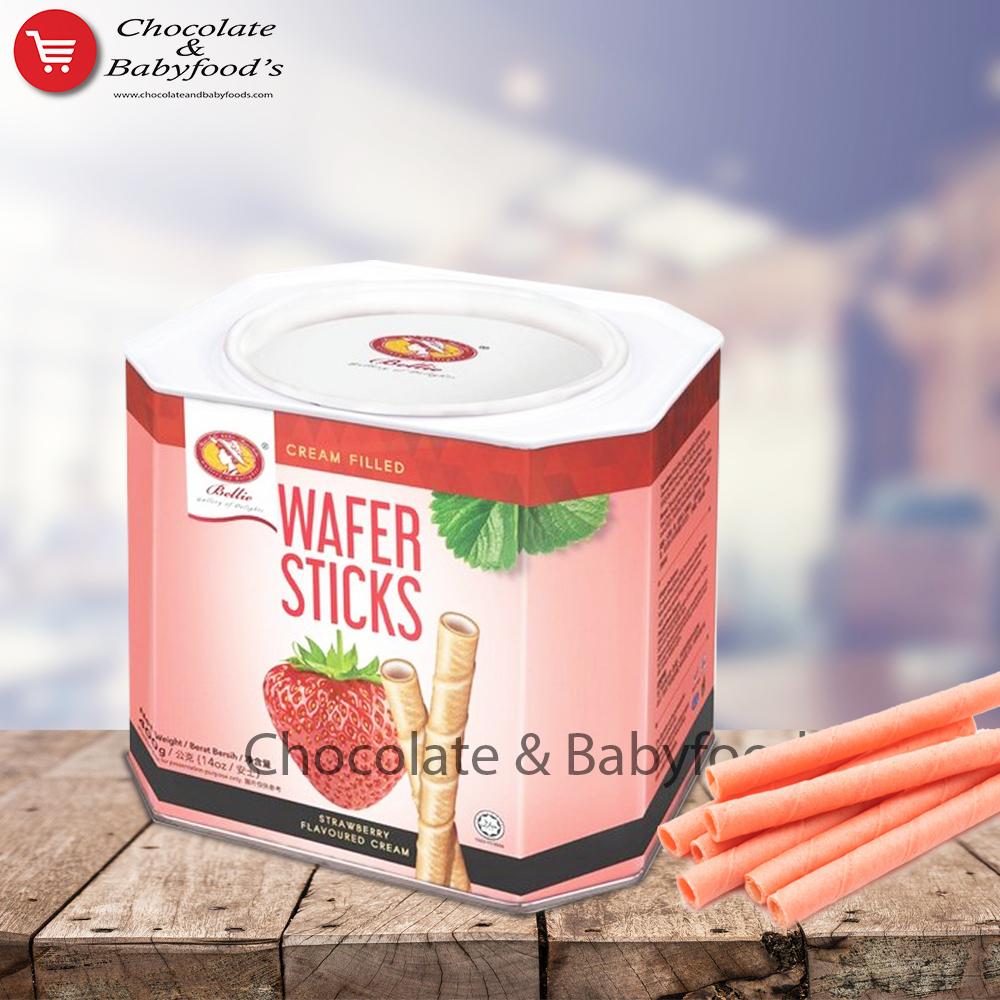 Bellie Wafer Sticks Strawberry Flavoured Cream 400g